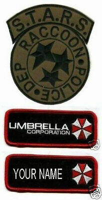 FANCY DRESS HALLOWEEN COSTUME RESIDENT EVIL RACOON POLICE NAME 3-PATCH SET OD