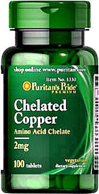 CHELATED COPPER AMINO ACID CHELATE 2mg RED BLOOD CELLS BONE SUPPLEMENT 100 TABS ()