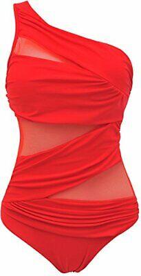 TDOLAH Eudolah Damen Sexy Uni Badeanzug Bandeau Figurformender Rot, L