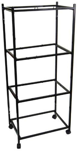 """4-Tiers Rolling Stand for Four of 24""""x16""""x16""""H Aviary Bird Flight Cages Black"""