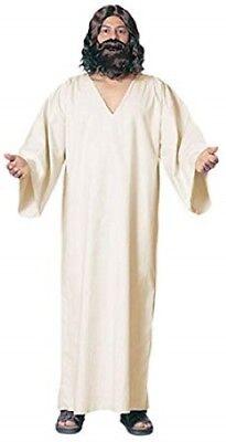 Jesus Costume Lt. Tan Poly/Cotton Simple V-Neck Biblical Robe Religious Costume