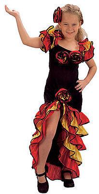 Flamenco Tanz Kostüme Mädchen (Mädchen Rumba Flamenco spanisch Tanz Kostüm verkleiden Outfit NEU Alter 8-10)