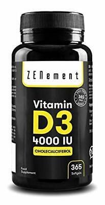 Vitamina D3 4000 UI 365 Perlas   Vitamina D Natural Colecalciferol   con Acei…