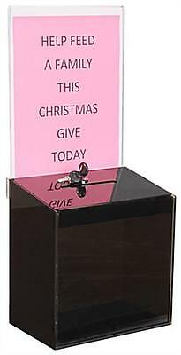 Black Acrylic Suggestion Box With 9w X 11h Sign Display And Lock