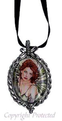 Marjolein Gulinski Erlina Fairy Pewter Cameo Necklace Green Wings Beauty Redhead