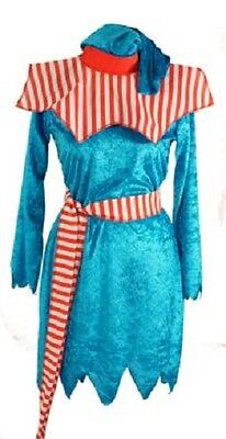 Christmas-Xmas-Santa's Helper BLUE ELF COSTUME in All Sizes/Plus (Blue Santa Kostüm)