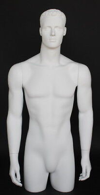 3 Ft 11 In 34 Male Torso Mannequin Head Arms Free Standing White Colored Mt3-wt