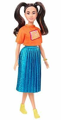 Barbie Fashionistas Doll, Long Brunette Pigtails, Orange T-Shirt,Blue Skirt, Toy - $15.42