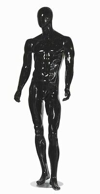 Black Gloss Male Mannequin W Straight Arms