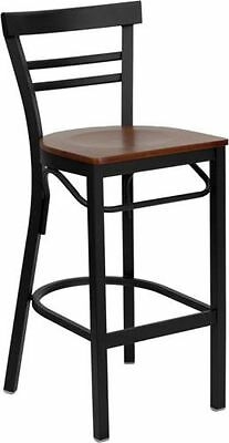 Ladder Back Metal Restaurant Bar Stool With Cherry Finish Wood Seat