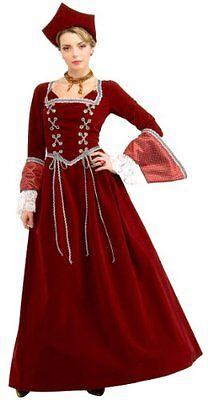 Renaissance Faire Maiden 4 Pc Burgundy Velveteen Dress Lace Cuffs & Tudor Hat - Faire Maiden