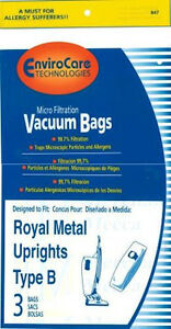 6 Bags for Royal Metal Upright Vacuums Type B