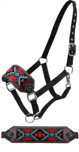 Showman Leather Bronc Halter w/ Beaded Inlay & Rhinestones!! NEW HORSE TACK!!