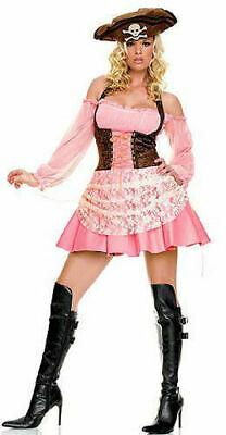 NEW Leg Avenue USA 83231 Pink & Brown Pirate Wench Corset Costume Dress Set - Wench Kostüm Set