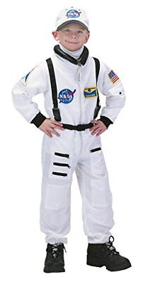 Aeromax Jr. Astronaut Suit With Embroidered Cap and NASA Patches White Size