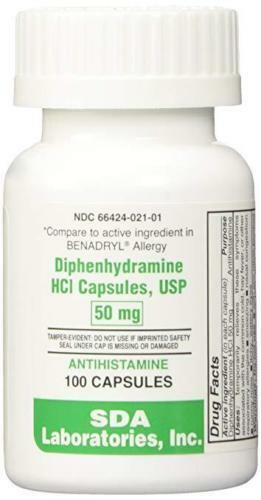 Diphenhydramine 50mg  by SDA Labs - 100 or 1000 Capsules