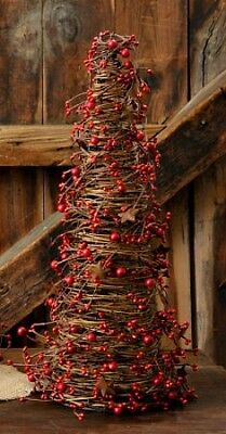 New Primitive Christmas Red Burgundy RUSTY STAR BERRY CONE TREE Grapevine 24