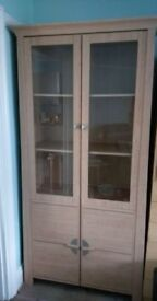 oak display cabinet with glass doors & cupboard delivery available