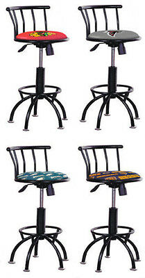 Fc75 24  29  Tall Adjustable Black Metal Finish Sports Logo Swivel Bar Stools