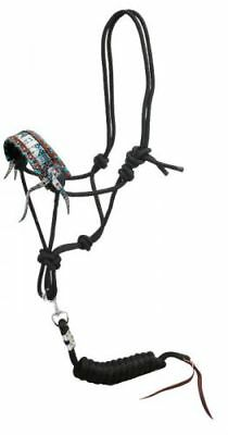 Showman Cowboy Knot Rope Halter w Teal Aztec Inlay Nose & Removable Lead