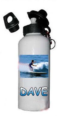 Personalised white Aluminium Water Bottle Sports gift