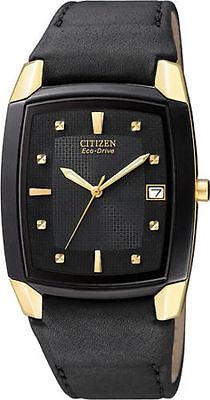 Citizen Eco-Drive Men's BM6574-09E Dress Black Leather Band Black Dial Watch