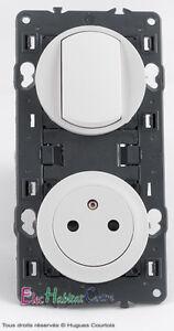 Permutateur+prise de courant 2P+T 16A affleurante blanc 67006+67131+68006+80252