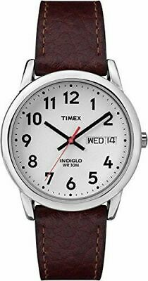Timex T20041, Men's Easy Reader Brown Leather Watch, Indiglo, Date