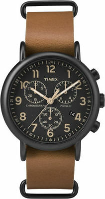 "Timex TW2P97500, ""Weekender"" Brown Leather Watch, Chronograph, Indiglo, Date"