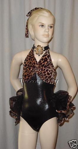 Clearance Sassy Cat Leopard Jazz Tap Dance Costume Child XL start quan. 10
