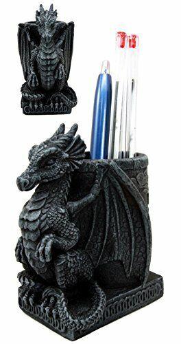 "Ebros Medieval Fantasy Dragon Stationery Office Desktop Pen Pencil Holder 4.75""H"