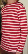 Red White Striped Long Sleeved T Shirt