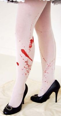 HORROR WHITE BLOODY HOLD UP STOCKINGS great fancy - Horror Dress Up Kostüme