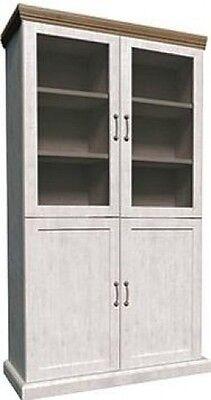 Devonshire 2 Bay Tall Dresser Glass Display Unit Cupboard   White Ash/Oak Wood