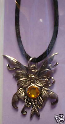 Amy Brown Bubble Rider Necklace Topaz Faceted Fairy NEW