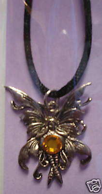 Amy Brown Bubble Rider Necklace Topaz Gem Bling Crystal Orange Faceted Fairy NEW