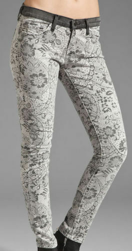 "WOW! NEW Tags Current/Elliott jeans ""light grey lace"" print $218 sz 27"