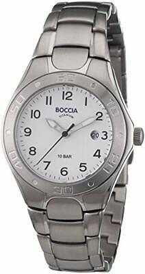 Armbanduhr Boccia Damen Titan 3119-10 Faltschließe Silber/Weiß Analog Rund weiß