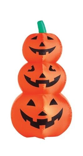 """48"""", Inflatable Lighted 3 Stack Halloween Pumpkin,lighted With Blower And Stakes"""