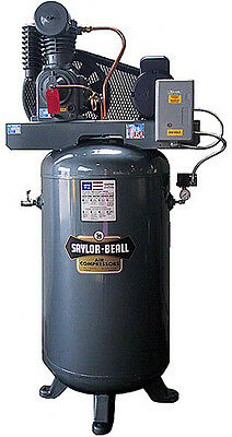 New Saylor-beall 5 Hp Splash Lub Two Stage Elec Motor Vertical Tank 1 Phase