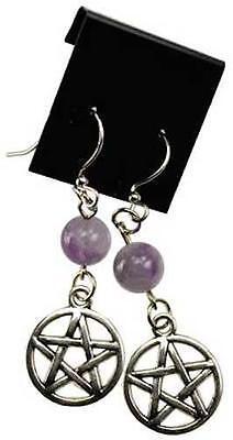 Amethyst and Pentagram Piereced Earrings!