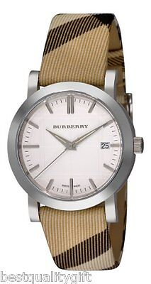 NEW BURBERRY WHITE DIAL CHECK PLAID LEATHER FABRIC BAND SWISS, DATE WATCH BU1390 for sale  Shipping to India