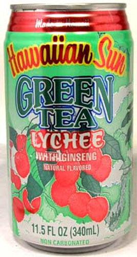 """FULL 11½oz Can """"Taste of Hawaii"""" Hawaiian Sun Natural Green Tea Lychee w Ginseng"""
