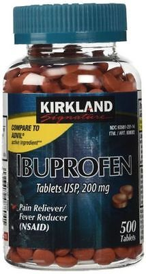 Kirkland IBUPROFEN (500 TABLETS) 200mg Pain Reliever/ Fever Relief