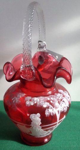 Fenton Cranberry Glass Basket Ebay