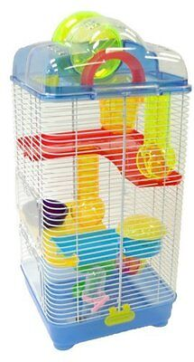 YML 3 Level Clear Plastic Dwarf Hamster- Mice Cage with Ball on Top- Blue