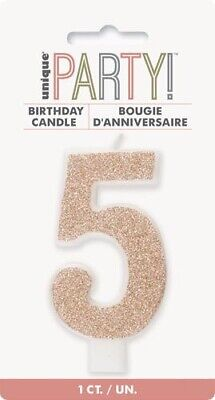 GLITTER ROSE GOLD NUMERAL CANDLE-5 BIRTHDAY PARTY SUPPLIES