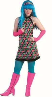 60's-70's Retro Gogo Dress & Headscarf Multi Color Circle Pattern Costume Dress (Gogo Dress Costume)