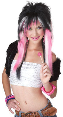 Black/Pink Rave Club Kid Wig for Halloween Costume