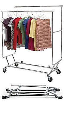 3 Clothing Racks Double-rail Bar Commercial Folding Garment Rolling Ez Fold
